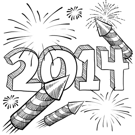 festivities: Doodle style 2014 New Year illustration in vector format with retro fireworks celebration background
