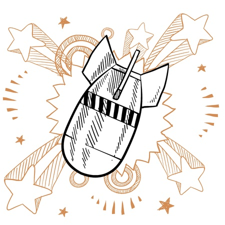 ww2: Doodle style gravity bomb on 1960s or 1970s pop explosion background