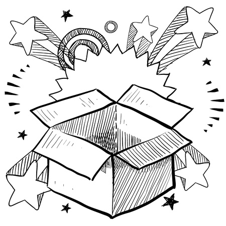 Doodle style package or present box on 1960s or 1970s pop explosion background   Stock Photo - 14559468
