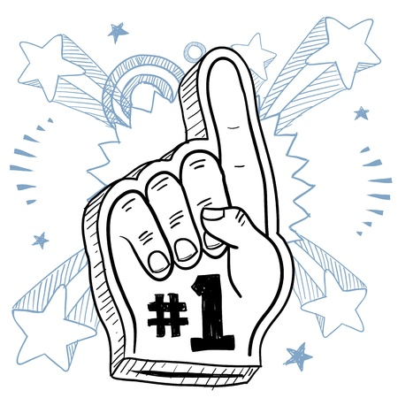 rally finger: Doodle style foam finger used in stadiums and ballparks to cheer on a team  Vector format