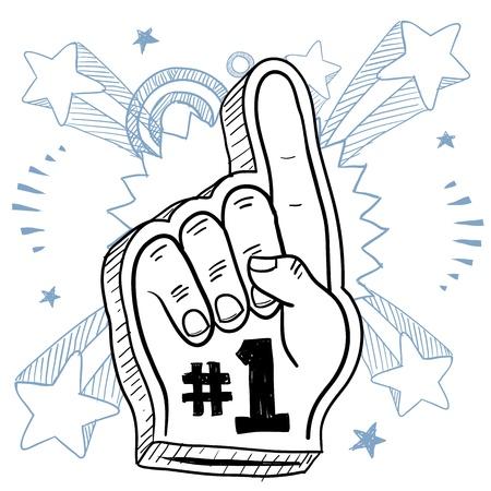 numero uno: Estilo Doodle dedo espuma utilizada en los estadios y parques de juego para animar a un formato vectorial equipo Foto de archivo