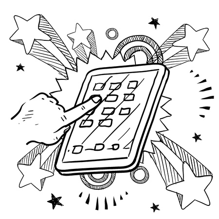 mobilephone: Doodle style tablet or mobile device sketch on 1960s or 1970s pop explosion background