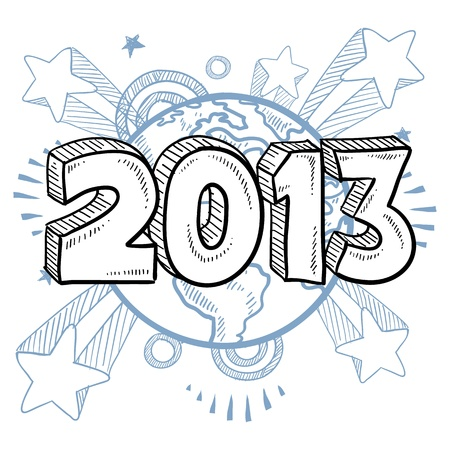 Doodle style 2013 New Year illustration in format with retro 1970s shooting stars pop background  Stock Illustratie