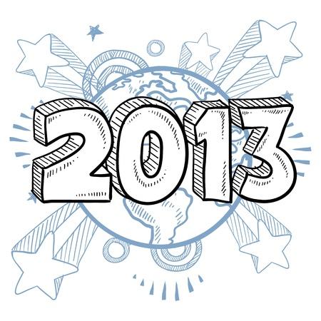 Doodle-Stil ins Neue Jahr 2013 Illustration in Format mit Retro-Pop der 1970er Jahre Sternschnuppen Hintergrund Standard-Bild - 14590496