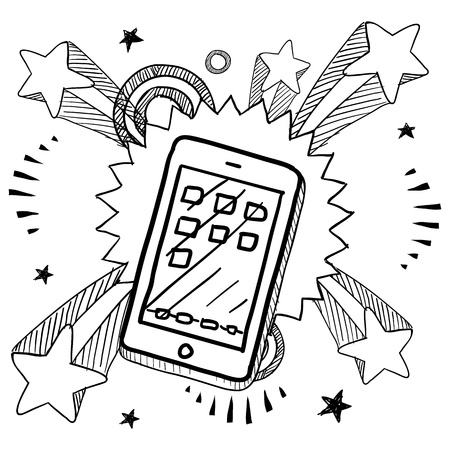 Doodle style smartphone or mobile device sketch on 1960s or 1970s pop explosion background   Stock Illustratie
