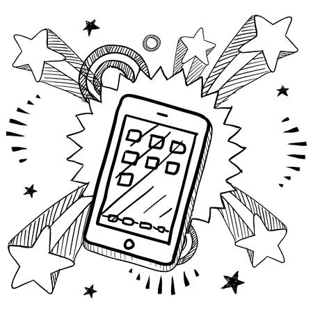 vintage telefoon: Doodle stijl smartphone of mobiele apparaat schets op 1960 of 1970 pop explosie achtergrond