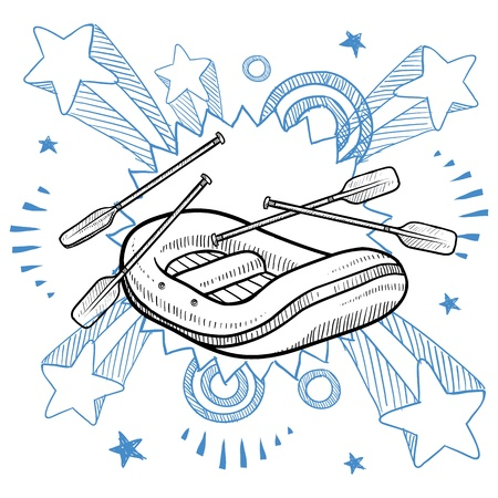 raft: Doodle style illustration of whitewater rafting on pop explosion background in 1960s or 1970s style in illustration