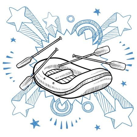 jangada: Estilo de ilustraci�n Doodle de rafting en aguas bravas en el fondo explosi�n del pop en los a�os 1960 y 1970 de estilo en la ilustraci�n