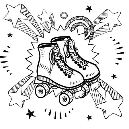 patín: Boceto de estilo Doodle de patines sobre fondo explosión del pop en los años 1960 o el estilo de 1970 en la ilustración