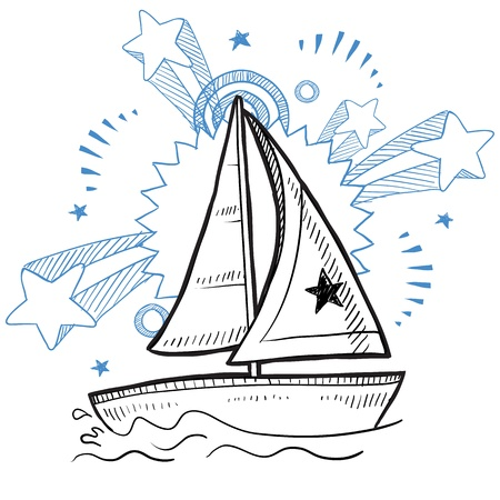 navigating: Doodle style sketch of a sailboat vacation on a pop explosion background in 1960s or 1970s style in illustration