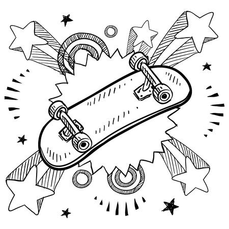 niño en patines: Boceto de estilo Doodle de una tabla de skate con el fondo de explosión del pop en la década de 1960 o de 1970 de estilo en la ilustración Vectores