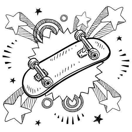 Doodle style sketch of a skateboard with pop explosion background in 1960s or 1970s style in illustration