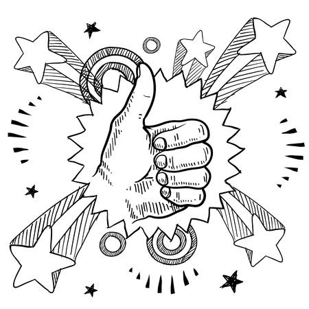 daumen hoch: Doodle Stil Skizze eines Daumen hoch Schild mit Pop-Explosion im Hintergrund 1960er oder 1970er Jahre Stil in Abbildung