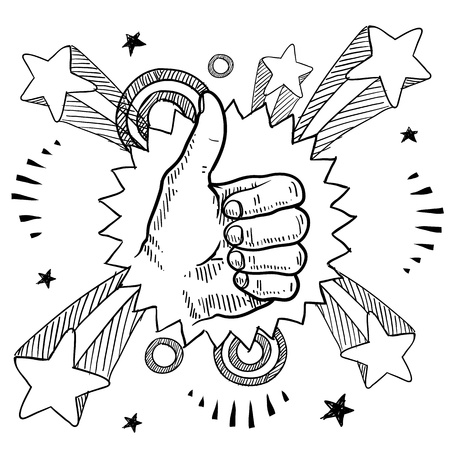 thumbs up symbol: Doodle style sketch of a thumbs up sign with pop explosion background in 1960s or 1970s style in illustration