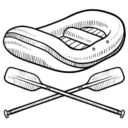 jangada: Doodle estilo de ilustraci�n de la balsa de rafting en aguas bravas, con palas y cruz� en la ilustraci�n Vectores