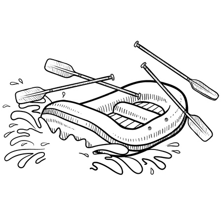 raft: Doodle style illustration of whitewater rafting in illustration