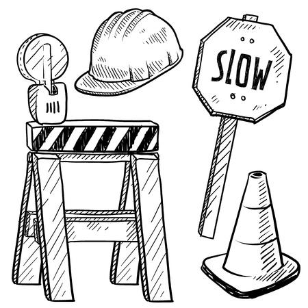 Doodle estilo de construcción vial boceto equipo en formato incluye casco, caballete, la alerta precaución, y el signo lento