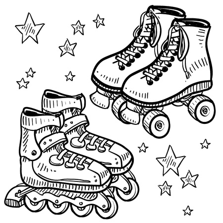 inline skates: Doodle style sketch of roller in illustration