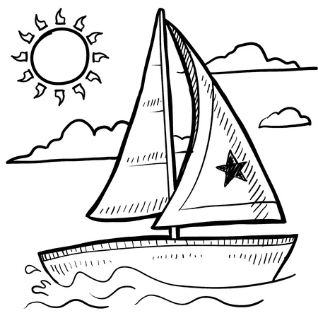 crew: Doodle style sketch of a sailboat vacation in illustration