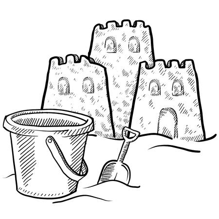 castle sand: Boceto de estilo Doodle de la construcci�n de castillos de arena la playa en la ilustraci�n