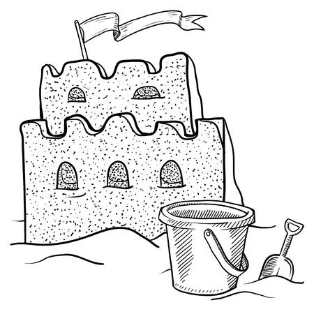 castle sand: Doodle boceto de playa estilo de castillos de arena en la construcci�n de la ilustraci�n