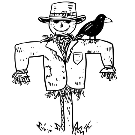 espantapajaros: Boceto de estilo Doodle de un espantapájaros agrícola con el cuervo o un cuervo en la ilustración