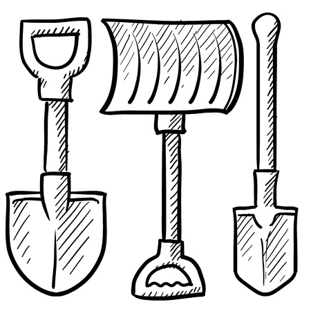 pick axe: Doodle style shovel sketch in format  Set includes spade, snow shovel, and entrenching tool