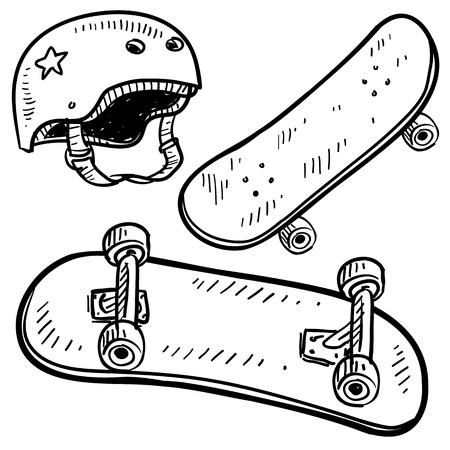 schaatsen: Doodle stijl schets van skateboard apparatuur, inclusief bord en helm, in illustratie Stock Illustratie
