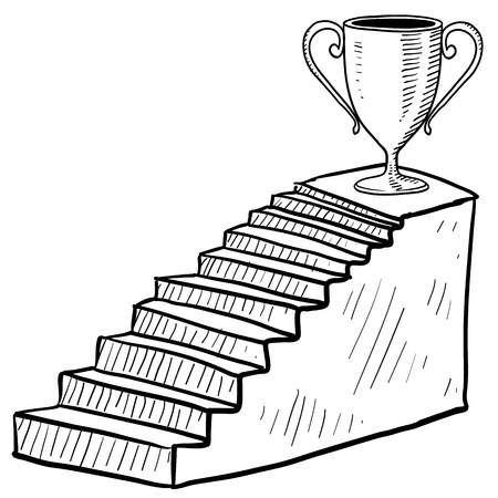 dais: Doodle style sketch of a staircase to success including dais and trophy in illustration