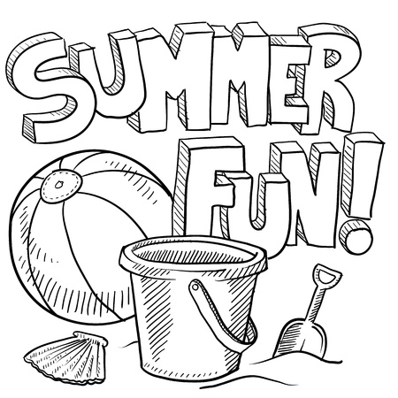 Doodle style sketch of summer fun, including title, beach ball, and sand pail and shovel in illustration