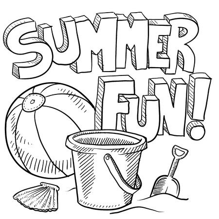 Doodle stijl schets van de zomer plezier, zoals titel, strandbal, en zand emmer en schop in de afbeelding Stock Illustratie