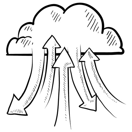 torrent: Doodle style sketch data or information flowing into and out of the cloud of in illustration  Metaphor for modern data transfer from computers and phones