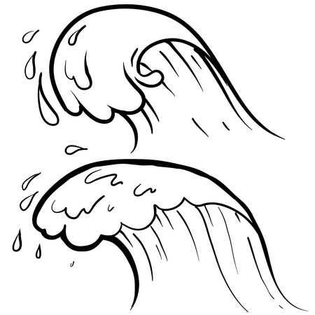 wave crest: Doodle style sketch of a stylized ocean wave in illustration   Illustration