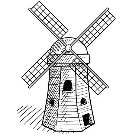 MOLINOS DE VIENTO: Boceto de estilo Doodle de un molino de viento holandés de estilo en la ilustración