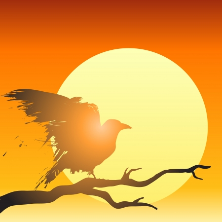 Raven or crow perched in a tree in front of the setting sun in illustration