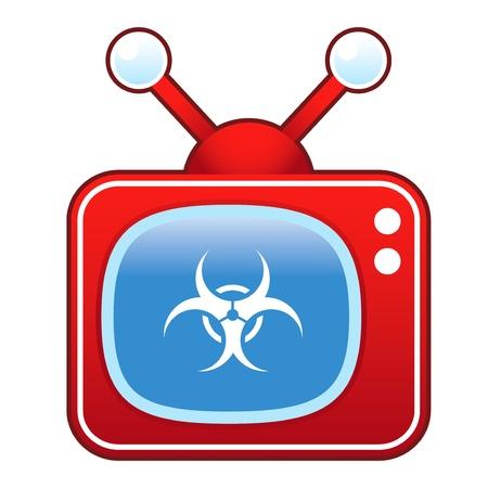 Biohazard warning icon on retro television set Stock Vector - 14590560