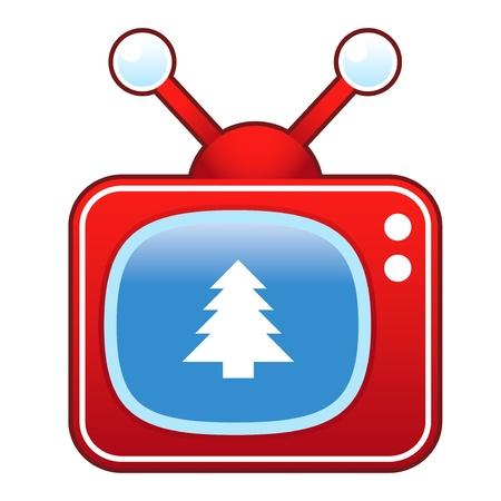 set de television: �rbol de Navidad en el icono de televisi�n retro Vectores