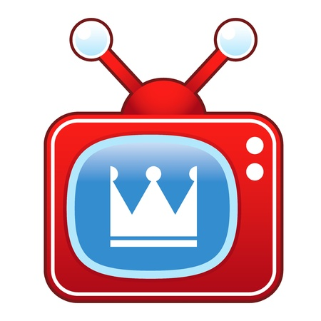 televised: Crown icon on retro television set suitable for use in print, on websites, and in promotional materials  Illustration