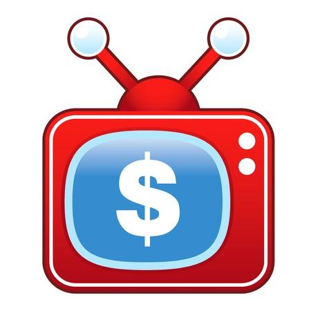 televised: Dollar sign icon on retro television set