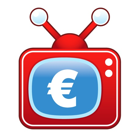 televised: Euro currency icon on retro television set