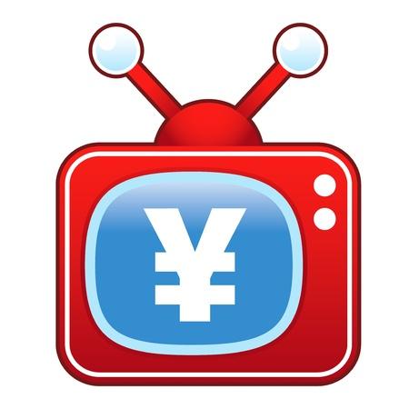 televised: Japanese yen currency icon on retro television set Illustration