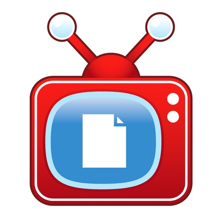 televised: Paper or document icon on retro television set