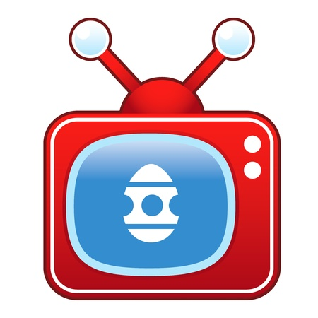 Easter egg icon on retro television set Illustration
