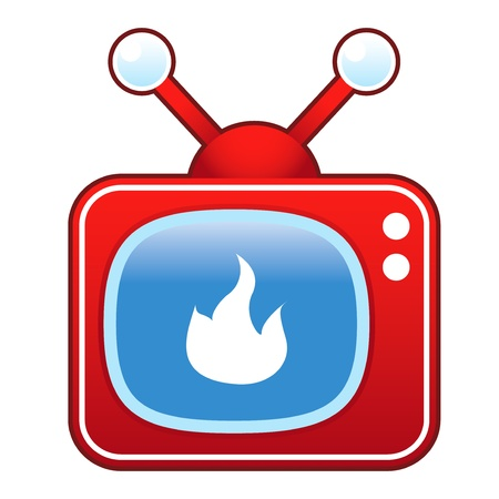 televised: Fire or campfire icon on retro television set