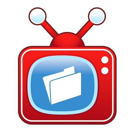 File folder icon on retro television set  Stock Vector - 14590512