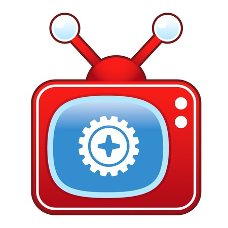 Gear or settings icon on retro television set  向量圖像