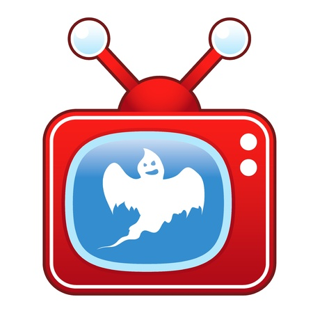 televised: Scary ghost icon on retro television set suitable for use in print, on websites, and in promotional materials