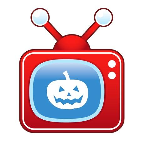 set de television: Calabaza de Halloween Jack o Lantern icono icono en el plat� de televisi�n retro