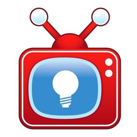 Light bulb or idea icon on retro television set  Vector