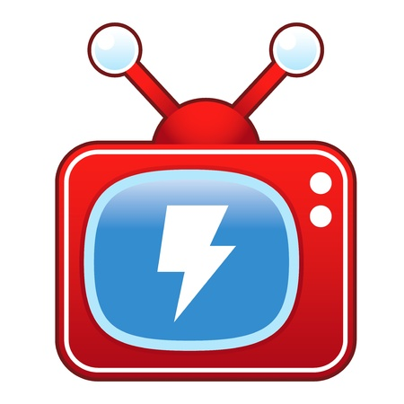 Lightning bolt or electricity icon on retro television set